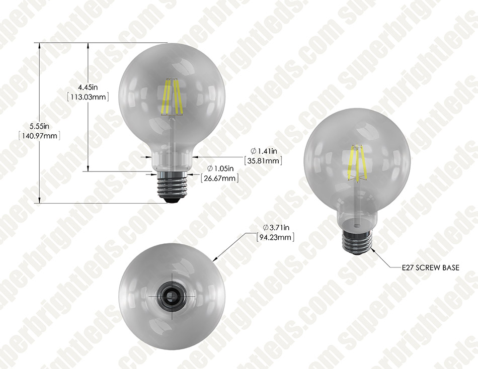 LED Filament Bulb - G30 LED Candelabra Bulb with 5 Watt Filament LED - Dimmable