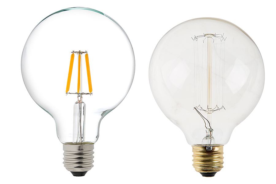 G30 LED Vanity Bulb - 60 Watt Equivalent LED Filament Bulb - Dimmable - 600 Lumens LED Globes ...
