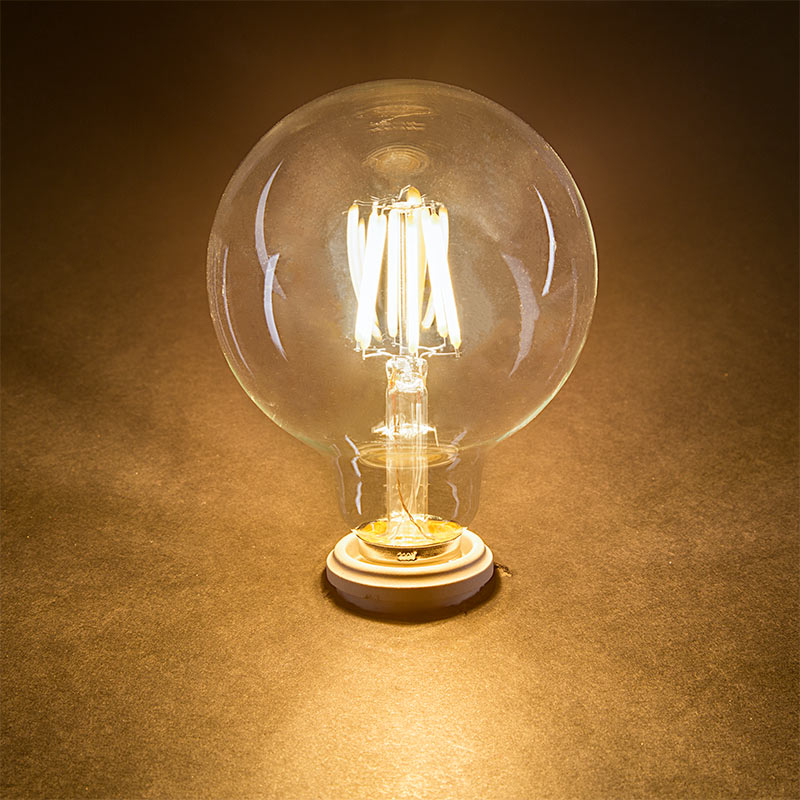 G30 LED Vanity Bulb - 60 Watt Equivalent LED Filament Bulb - Dimmable - 600 Lumens LED Globe ...