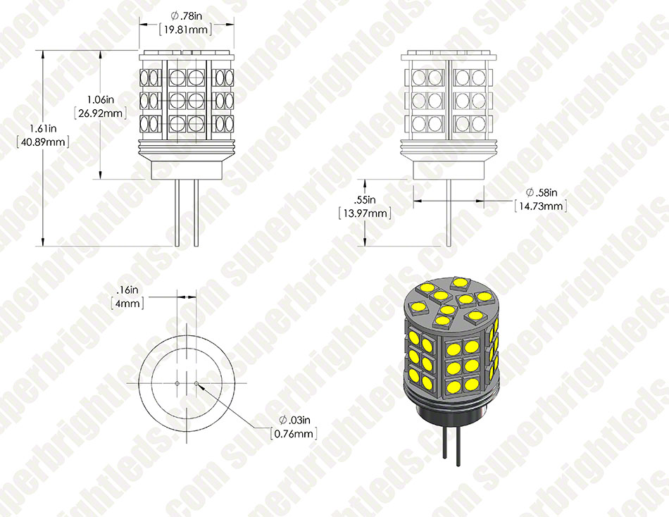 g4 led bulb - 4 watt  40 watt equivalent  bi-pin led tower