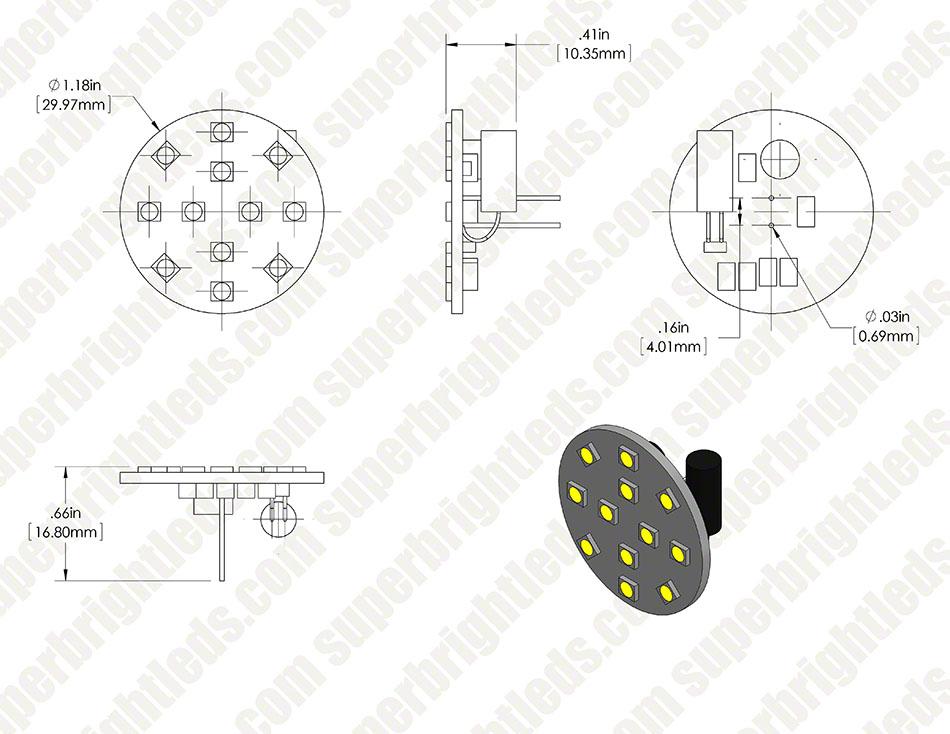 g4 led bulb - 2 watt  25 watt equivalent  bi-pin led disc - white