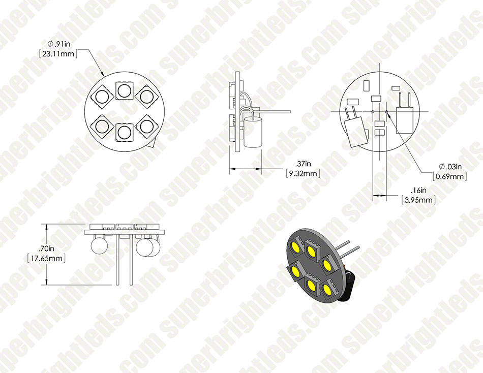 LED G4 Lamp, 6 LED Disc Type with Back Pins