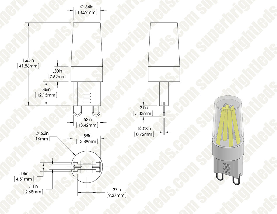 G9 LED Bulb - 4 LED - 2 Watt Bi-Pin LED Filament Bulb