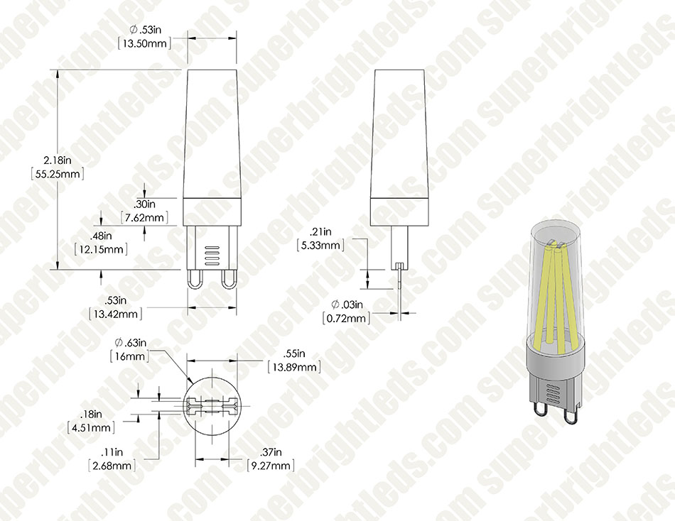 G9 LED Bulb - 4 LED - 3 Watt Bi-Pin LED Filament Bulb