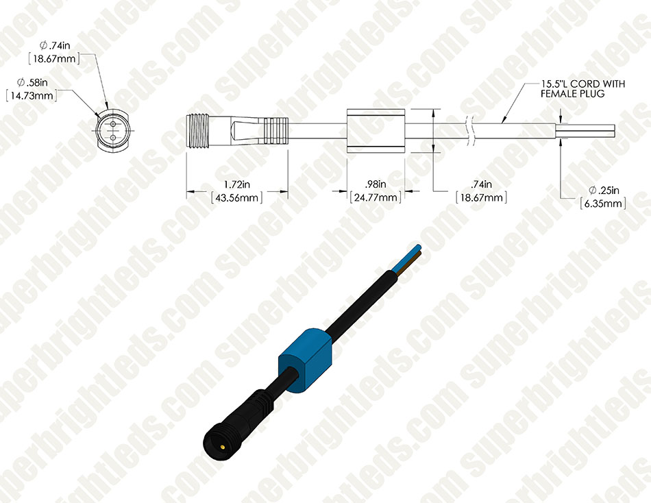 Female Pig Tail Power Cable