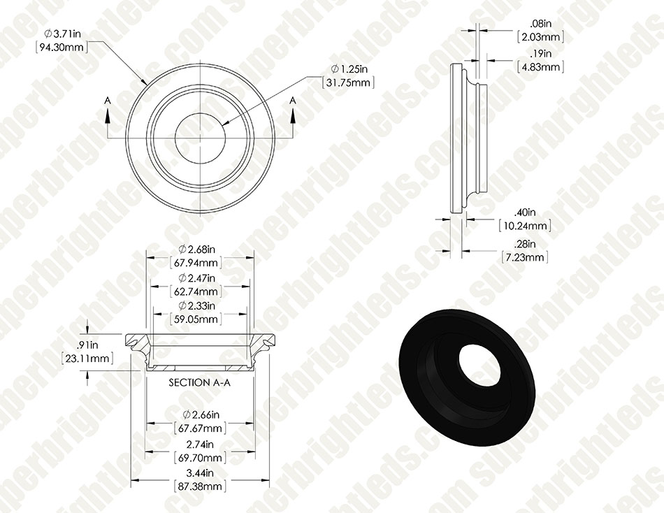 M4 series Mounting Grommet for 2.5in Round LED Marker Lamp