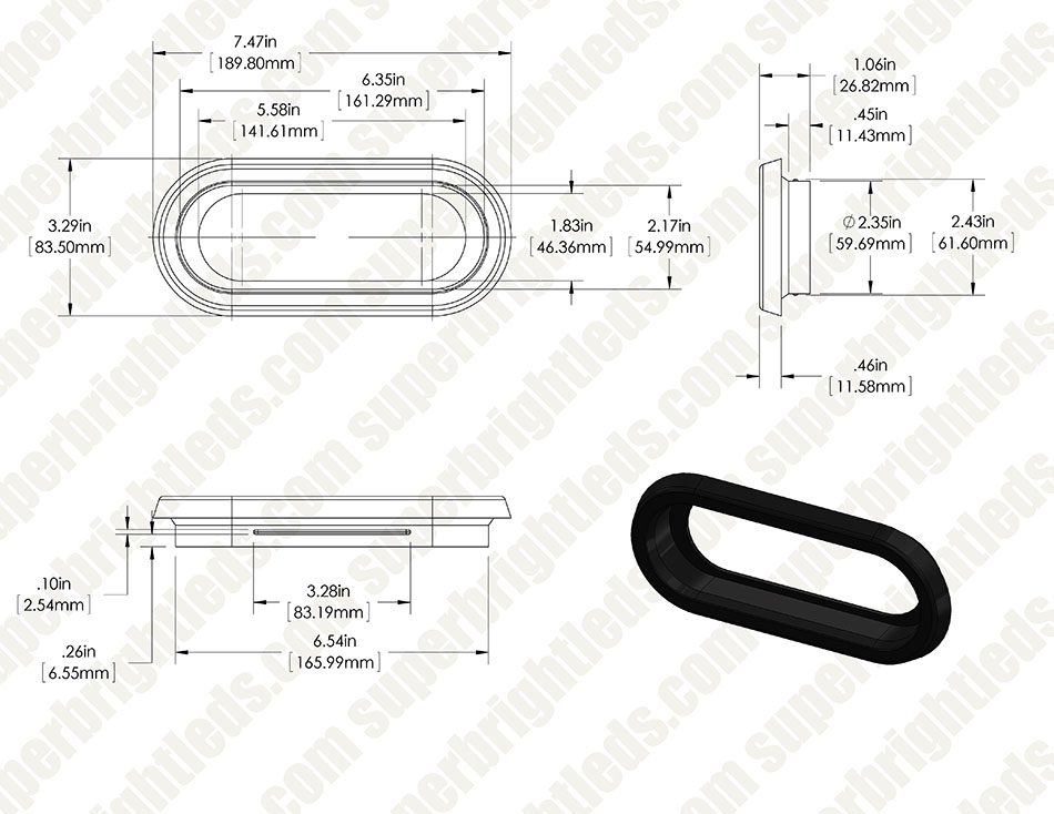 oval 6 5in mounting grommet for pt series trailer lights