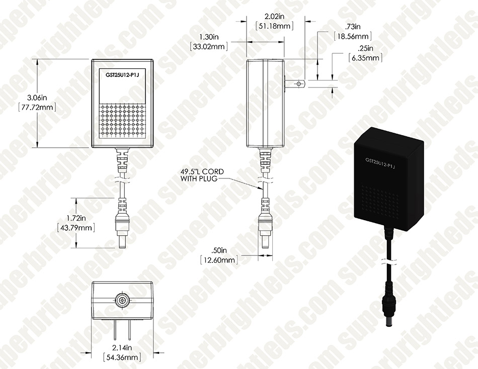 Wall Mounted Ac Adapter 12 Vdc Switching Power Supply
