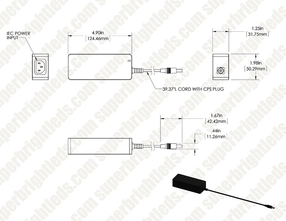 Desktop AC Adapter - 24 VDC Switching Power Supply - 60W