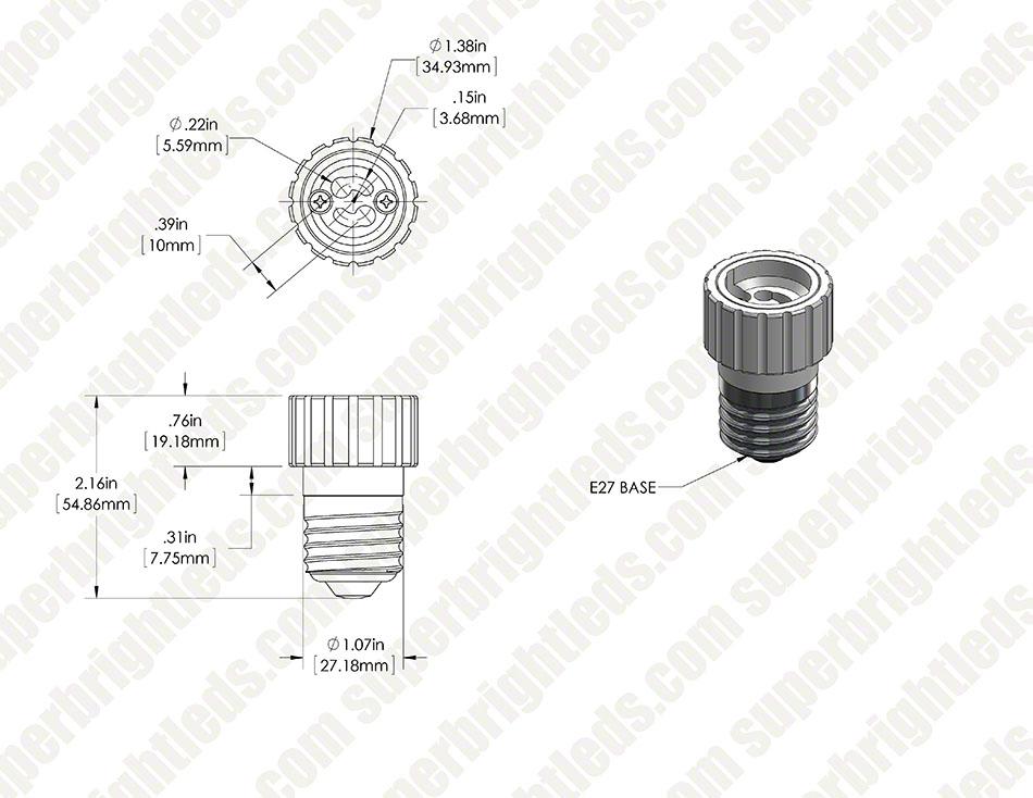 Gu10 Base To E27 Socket Adapter