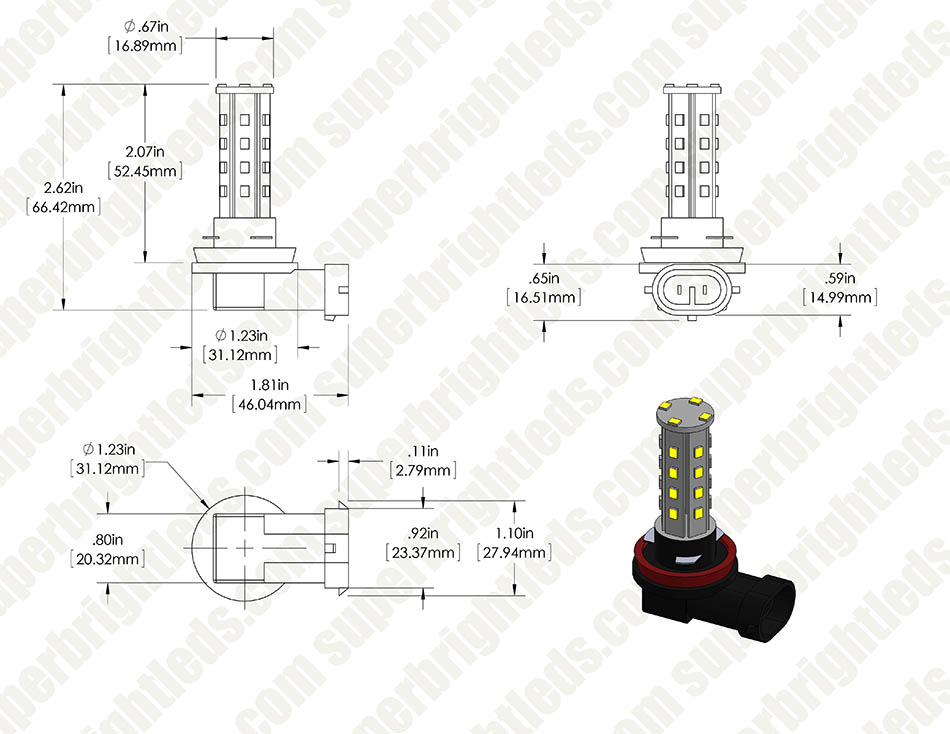 H11 LED Bulb - 28 SMD LED Daytime Running Light - LED Tower