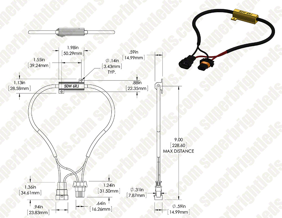 Motorcycle Headlight Load Resistor H10 Led Bulbs Super