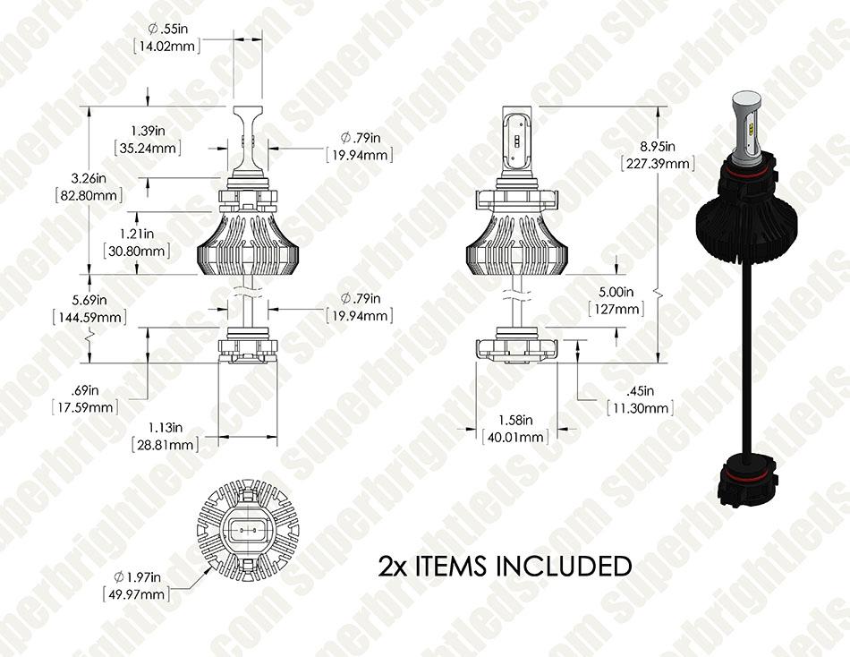 H16 Led Fanless Headlight Fog Light Conversion Kit With
