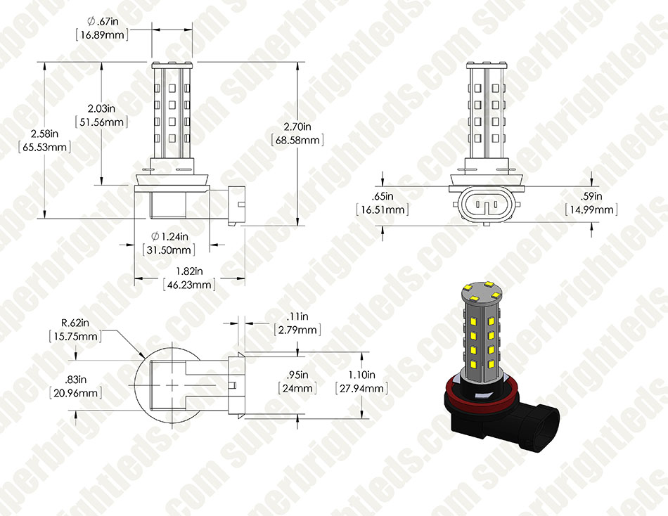 H8 LED Bulb - 28 SMD LED Daytime Running Light - LED Tower