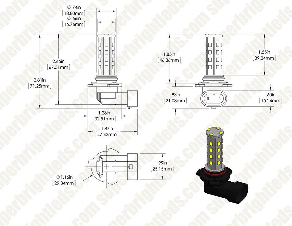 HB4 LED Bulb - 28 SMD LED Daytime Running Light - LED Tower