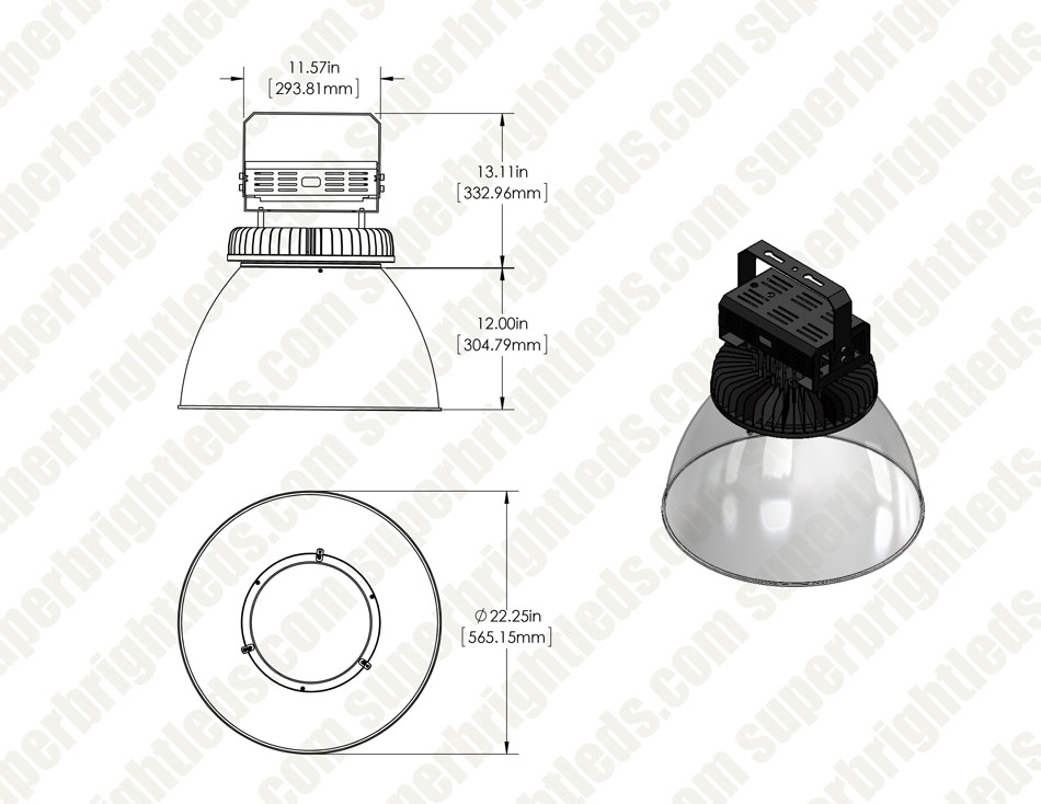 500W UFO LED High Bay Light w/ Reflector - 65,000 Lumens - 200-480 VAC - 1,500W Metal Halide Equivalent - 5000K