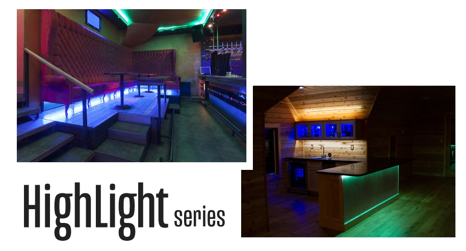 Common uses for Highlight Series strips in restaurant accent lighting settings.