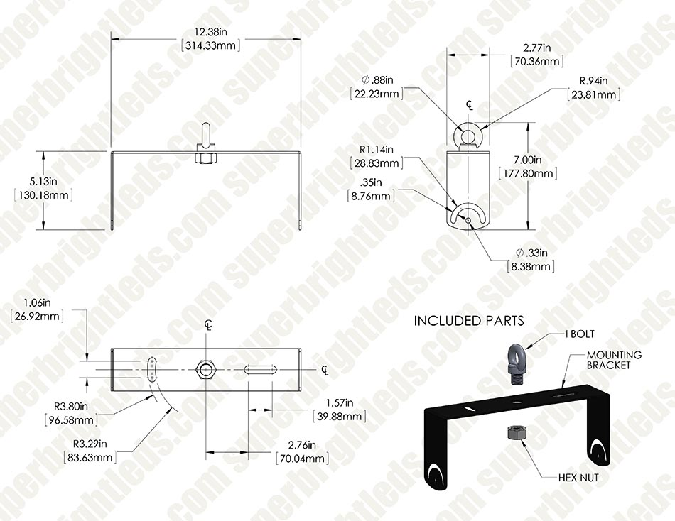 Universal Angle Mount Bracket With Eye Bolt For High Bay