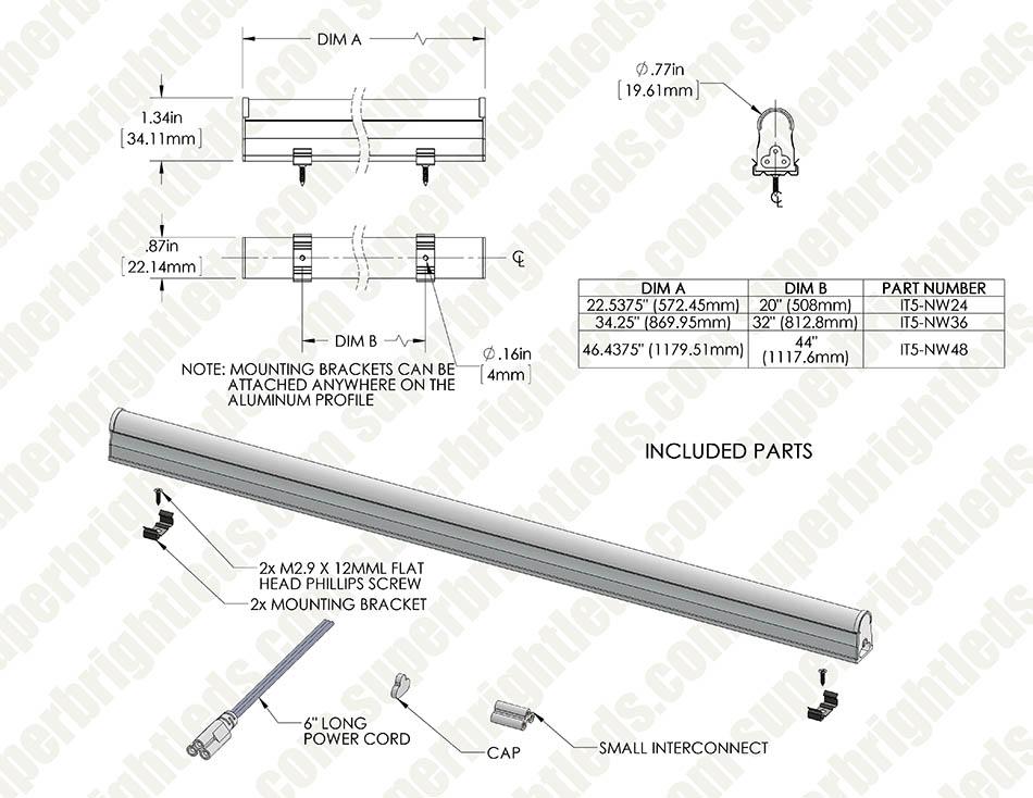 Linkable Linear Led Light Fixtures T5 Low Voltage Lights