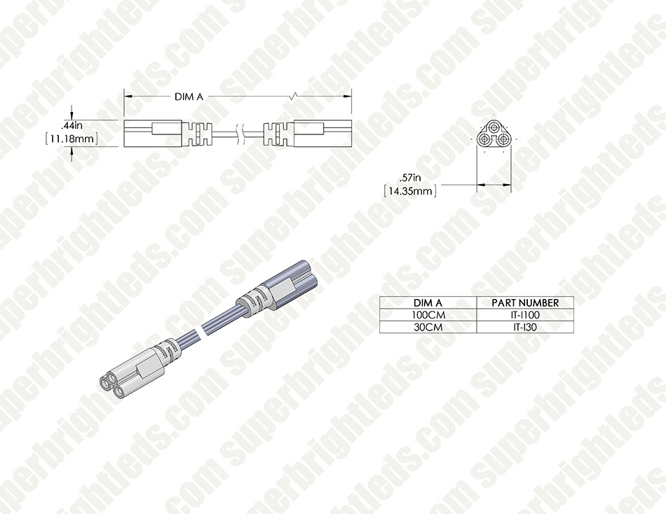 Interconnect Cables for T5 Linkable Linear LED Light Fixtures