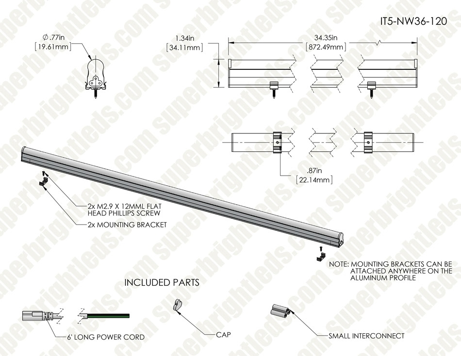 1Ft LED T5 Integrated Light Fixture - 5W Linkable Linear LED Task Light - 575 Lumens - 120V - 4000K