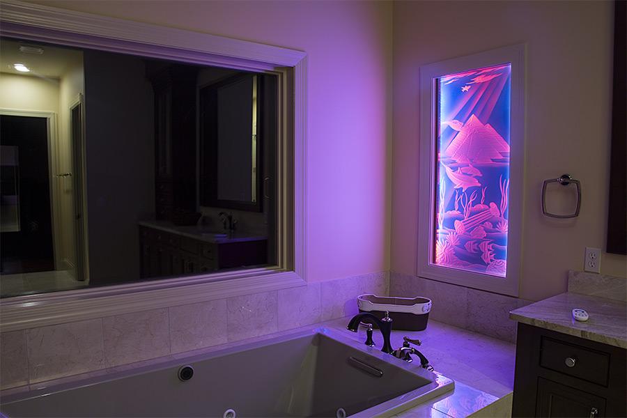 led glass lighting. aluminum led profile housing for 8mm glass installed in wall with edge lit led lighting