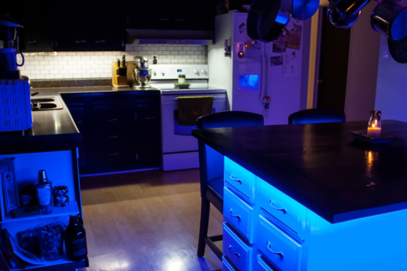 Outdoor rgb led strip lights color chasing 12v led tape light customer installed color chasing dream color led strips around kitchen island to create cool accent lighting and floating effect mozeypictures Choice Image