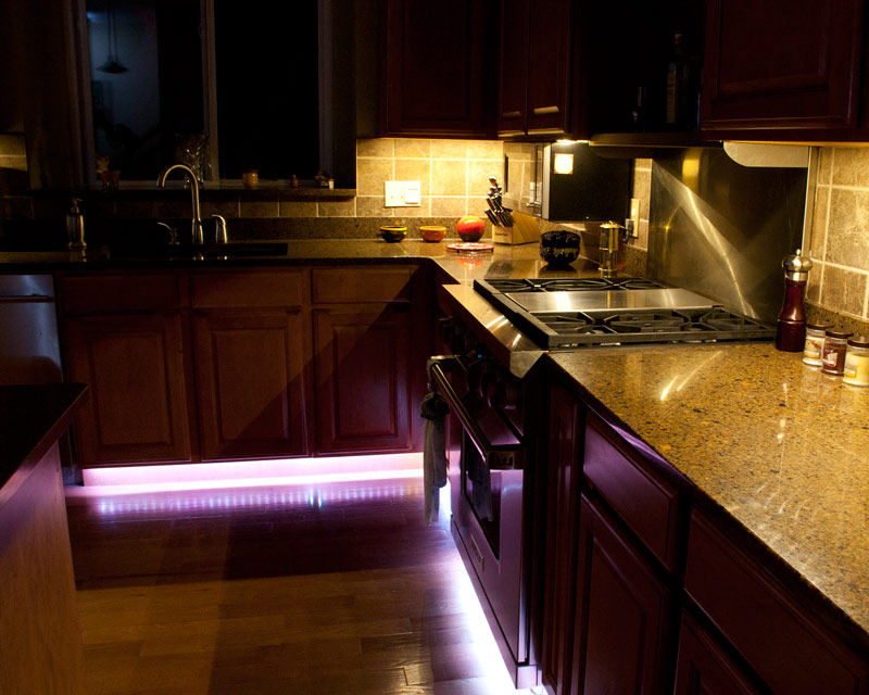 Flexible Light Strips Line Under Cabinets for