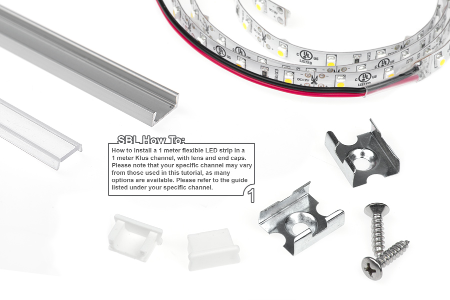 Low profile surface mount led profile housing for led strip lights how to install a led light strip in to a 1 meter klus channel and mount mounting accessories sold separately see accessories tab for options mozeypictures Image collections