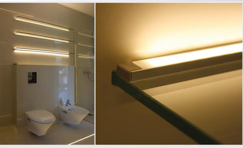 Bathroom LED Accent Lighting On Shelves Using LED Strips Housed In Surface  Mount Anodized Aluminum Klus LED Profile Housing