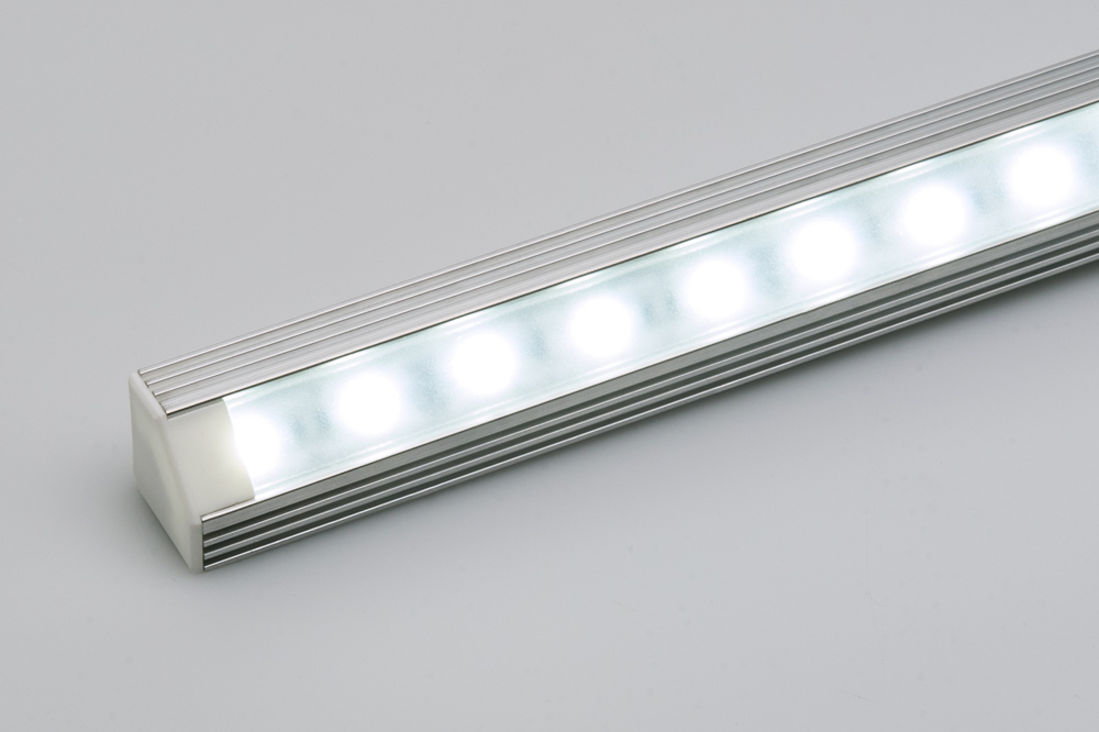 ECO series Corner Mount Aluminum Klus LED Profile Housing - TAN-C5 shown  with end cap and NFLS-X3 LED Light Strip (not included)