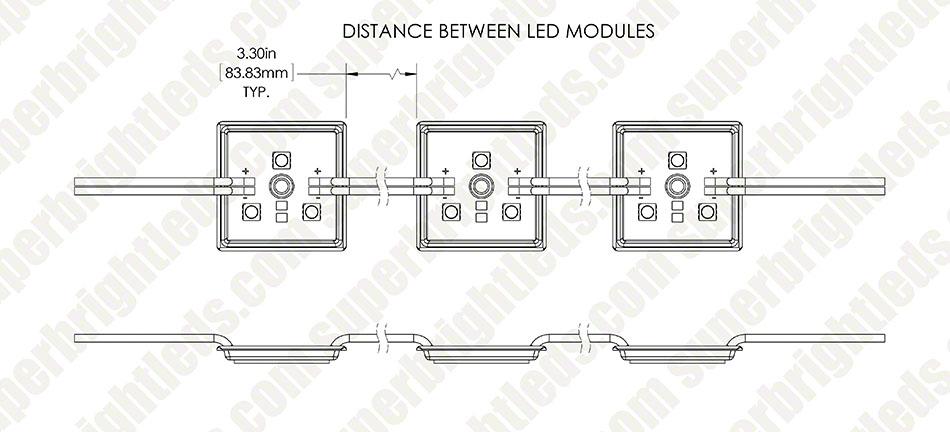 single color led module - square sign module w   3 smd leds  module