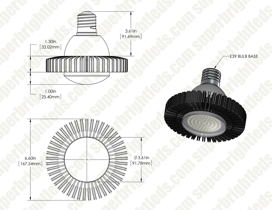 LED Retrofit Lamp - 100W Equivalent HID Conversion- E39/E40 Mogul Base - 5,300 Lumens - 4000K - Ballast Bypass