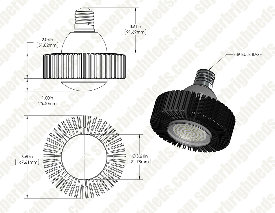 LED Retrofit Lamp - 175W Equivalent HID Conversion- E39/E40 Mogul Base - 7,500 Lumens - 4000K - Ballast Bypass
