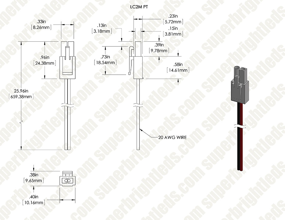 LC2 Locking Connector Pigtail Power Cable