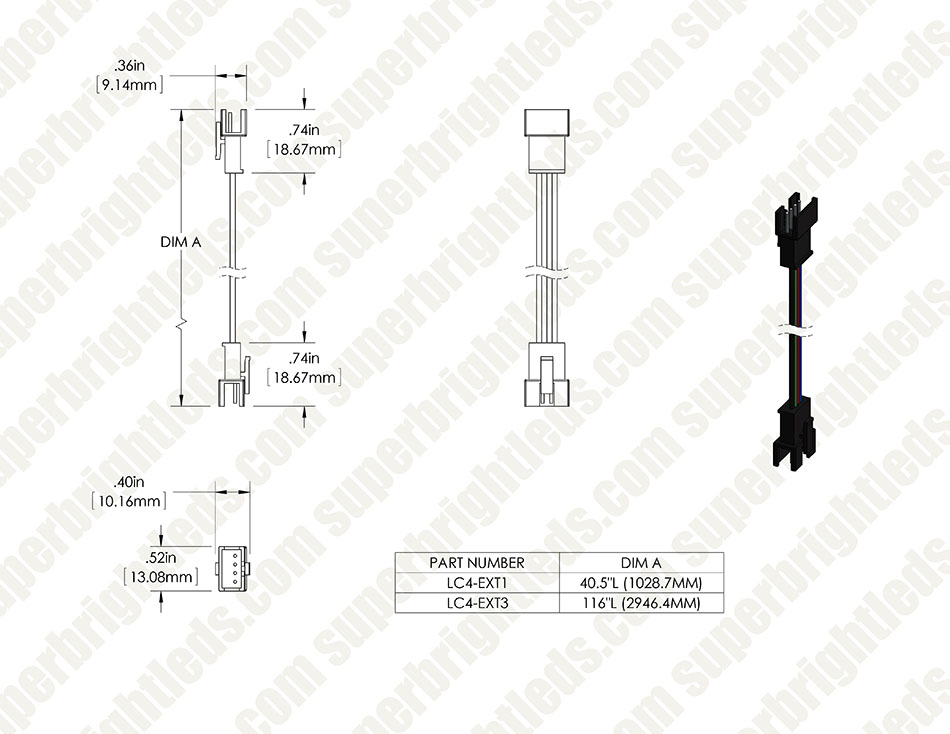 LC4 Locking Connector Power Cable Extension