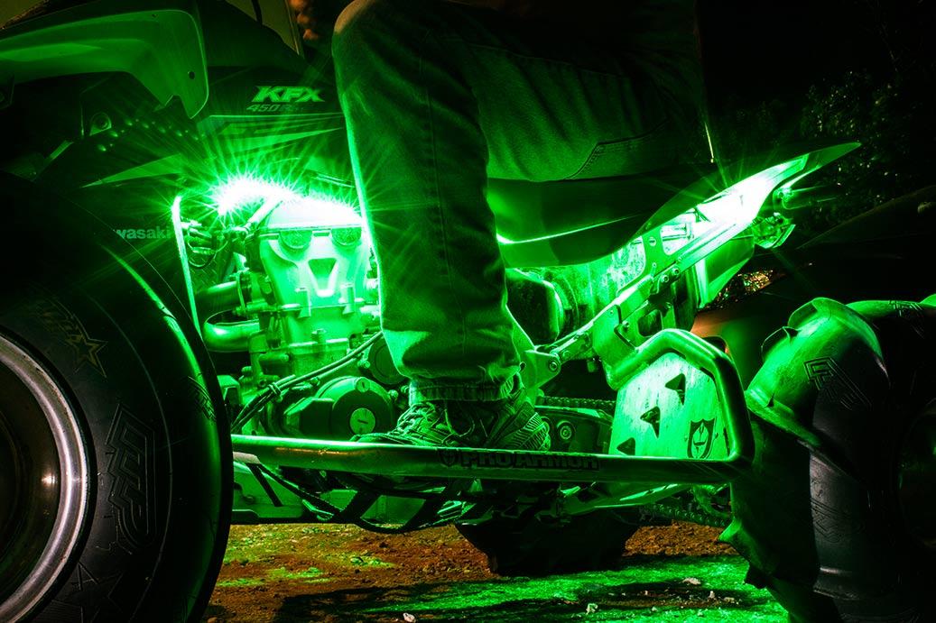 Atv utv led lighting kit multi strip remote activated rgb color atv utv color changing weatherproof rgb led glow strip accent lighting kit installed on an atv aloadofball Choice Image