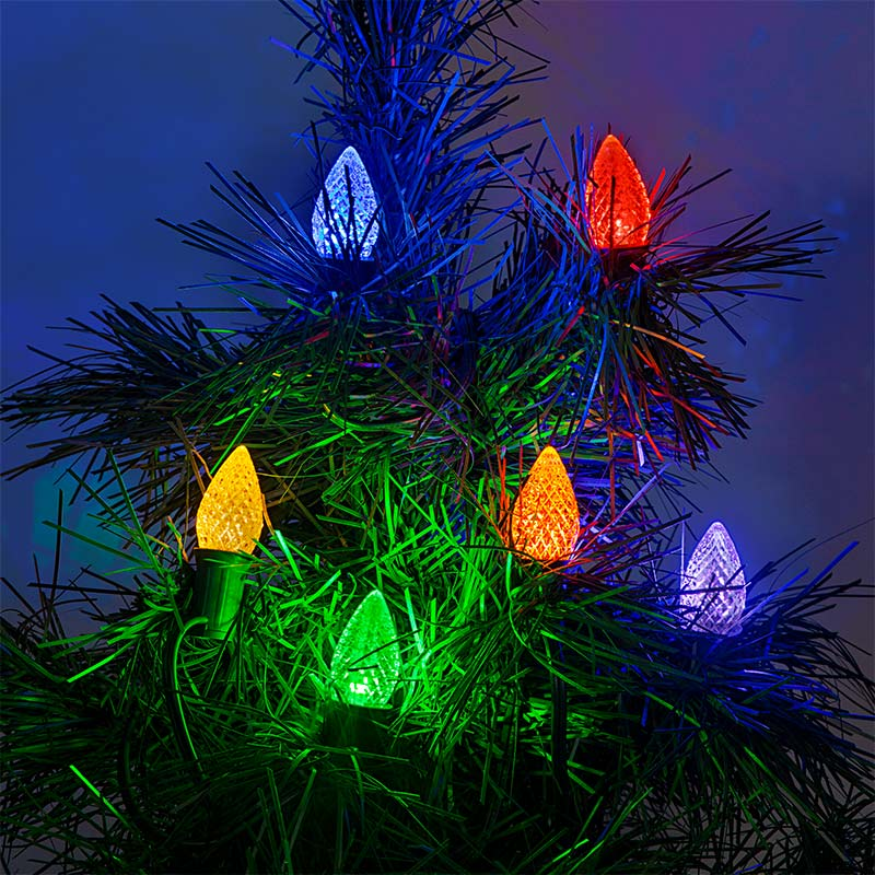 c7 led bulbs diamond faceted replacement christmas light bulbs installed on light string on tree