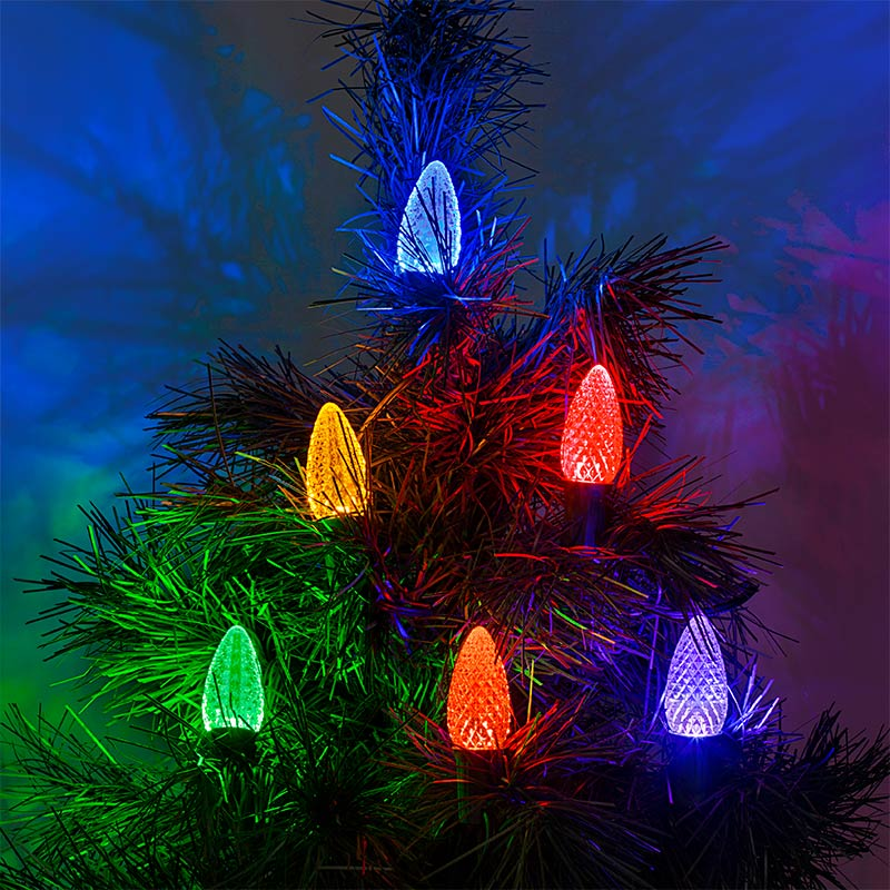 c9 led bulbs diamond faceted replacement christmas light bulbs installed on light string on tree