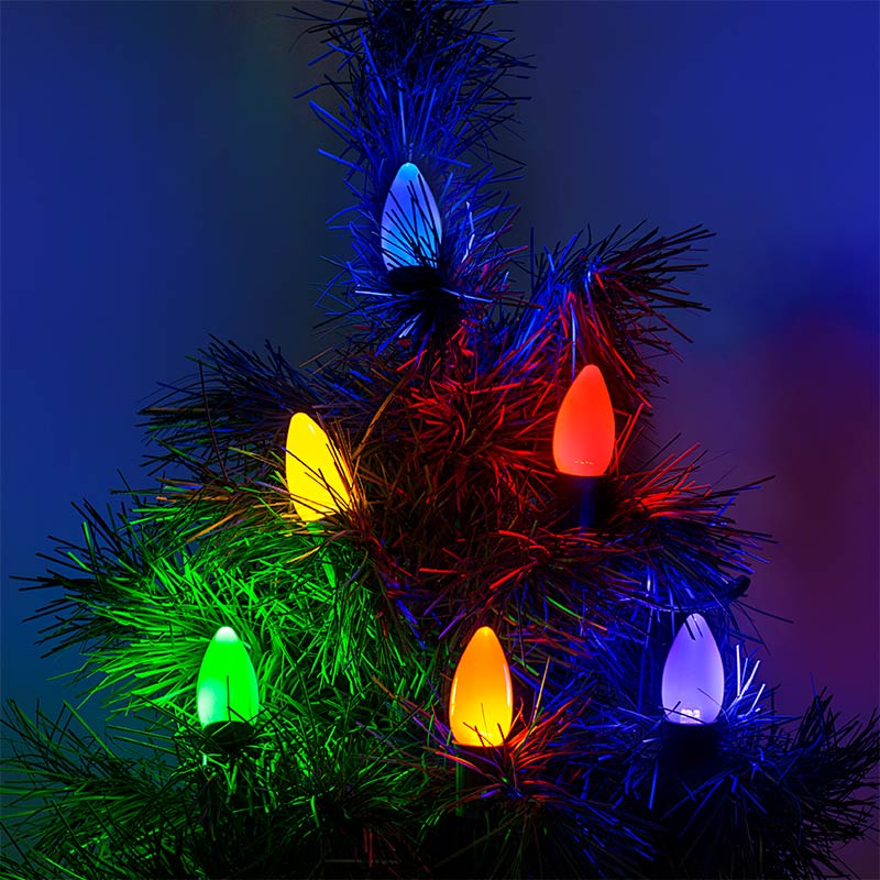 c9 led bulbs ceramic style replacement christmas light bulbs installed on light string on tree