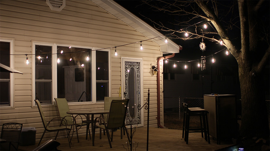 Outdoor LED Decorative String Lights   10 Pendant Sockets   Fits E26 Bulbs:  Installed On Back Patio