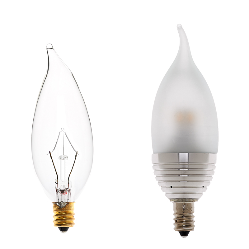 Candelabra Led Bulb: Candelabra LED Decorative Bulb, Bent Tip Shape