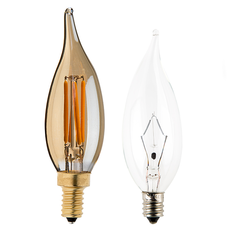 Ca10 led filament bulb 25 watt equivalent candelabra led bulb w led vintage light bulb ca10 candelabra led bulb w gold tint filament led dimmable profile view with size comparison to incandescent bulb aloadofball