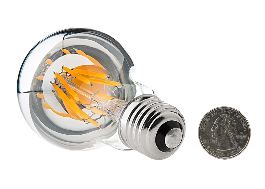 led filament bulb silver tipped a19 led bulb w filament led. Black Bedroom Furniture Sets. Home Design Ideas