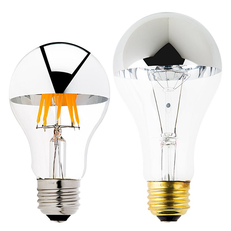 a19 led bulb silver tipped led filament bulb 50 watt. Black Bedroom Furniture Sets. Home Design Ideas