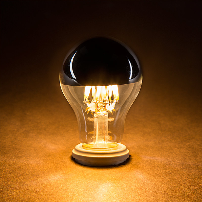 A19 LED Bulb - Silver Tipped LED Filament Bulb - 40 Watt Equivalent ...