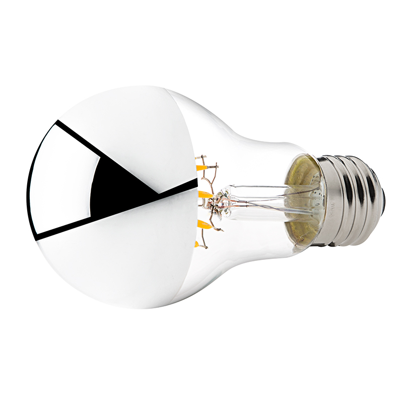 led filament bulb silver tipped a19 led bulb with 6 watt filament. Black Bedroom Furniture Sets. Home Design Ideas