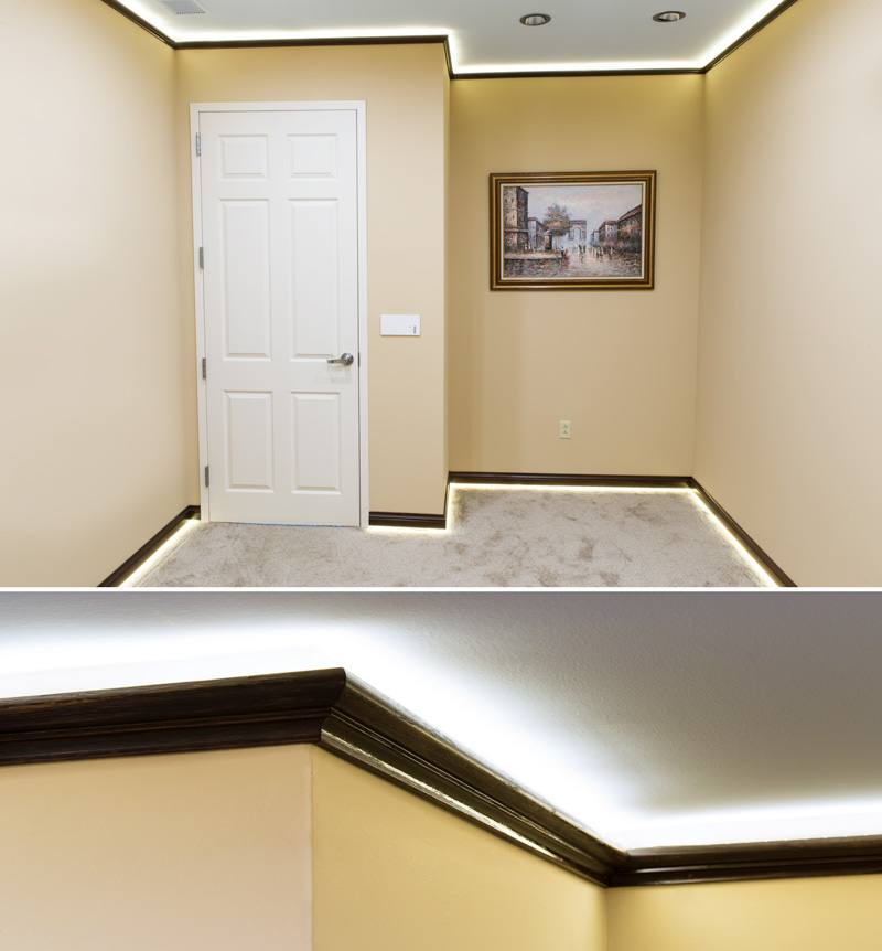 NFLS LED non-weatherproof light strips were installed above the crown  molding on the ceiling