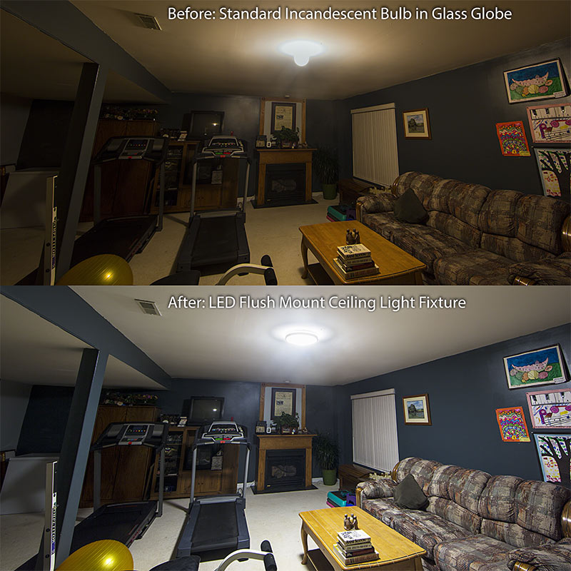 15 flush mount led ceiling light w brushed nickel housing 150 watt equivalent dimmable customer installed before after - Living Room Led Ceiling Lights