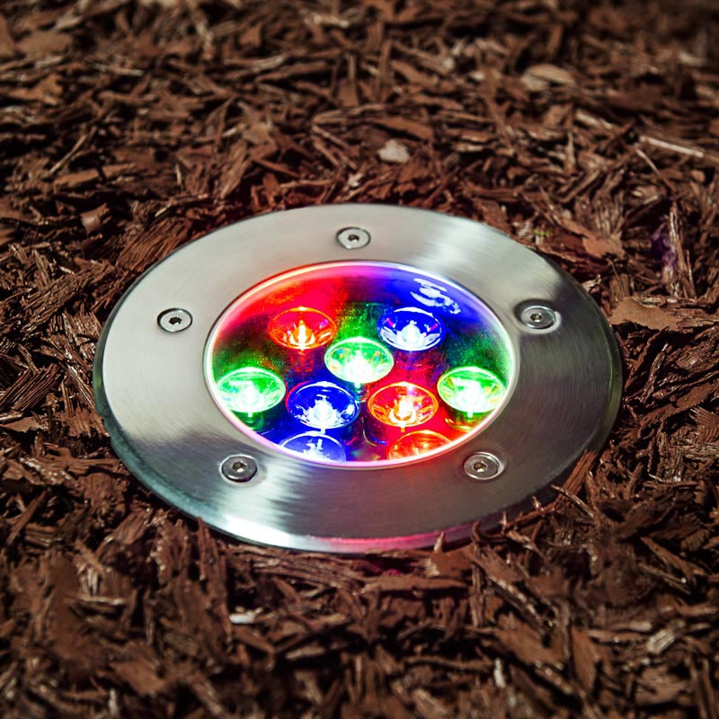 Rgb led in ground well light 9 watt super bright leds led in ground well light for accenting landscape and architectural features aloadofball Image collections